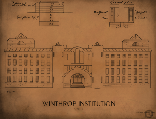 Worldbuilding for FindChaos! A blueprint mock-up of the asylum featured in Chapter 3, where Arthur spent most of his formative years.