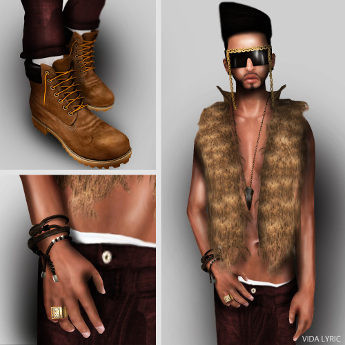 Vest: .:Vive9:.Dear Rabbit Vest Glasses: ** DIRAM ** LA FOLIE Sunglasses-Gold Pants: [ X-RaY ] - BaGGy DiPeR PaNtS Hair: Kutz- GUMBY HAIR Necklace: This is a Fawn + Scribble - Corvus Necklace [blackened gold] Shoes: [ h ] Patagonia - Men - Burnt Orange   Bracelet: KOSH- MULTIPLEX BRACELET