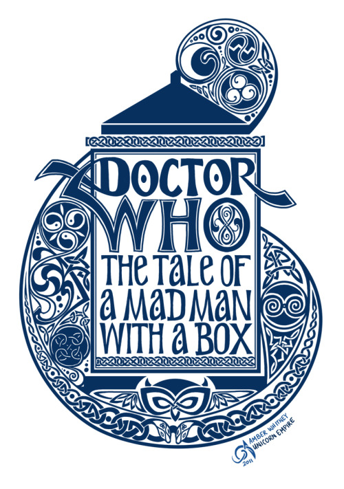 "Doctor Who: The Tale of a Madman with a Box | by Amber Whitney (unicornempire)  ""So, I lied- this may or may not be the final version. I have to put the Gallifreyan in the background along with the stars and stuff, but this was pretty close to finished. So, I'm going to hope that I can get this to burn nice enough to get a good, clean T-Shirt. If I can't do it, I think I may even find another way to get them made, because I'm really digging it so far. I ordered some navy blue t-shirts and I have my metallic gold ink on the way, so wish me luck!"""