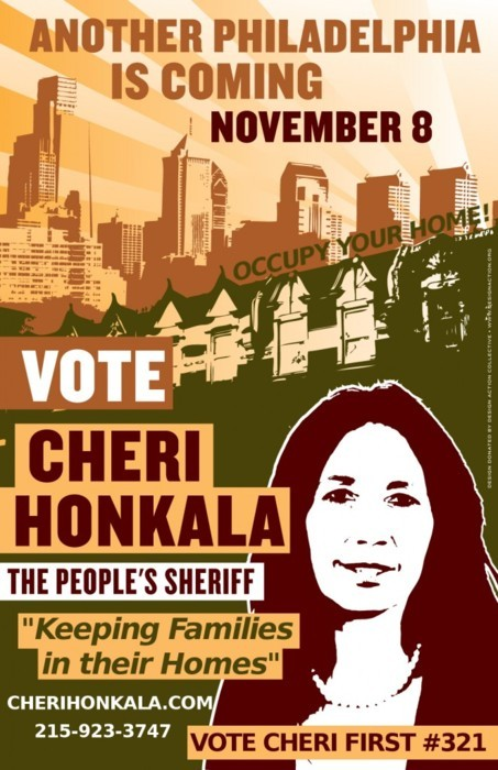 cognitivedissonance:  Meet Cheri Honkala. She's running for sheriff of Philadelphia as the Green Party candidate, and she's amazing. Her statement:  My name is Cheri Honkala and I'm running for Sheriff of Philadelphia to keep families in their homes. Every 7 seconds in this country a family is going into foreclosure. The banks received billions of dollars in taxpayer bailout money and yet they refuse to help out struggling homeowners and continue to increase blight and homelessness in our communities. Well, I'm here to act as the people's bailout! When I'm elected Sheriff, I will refuse to throw anyone out of their home. We live in the richest nation in the world and there is no reason why we can't house every man, woman, and child. I'm also working to establish community land trusts. There are over 40,000 vacant properties in our city and having democratic community-based control over these properties offers the potential for housing people in need of homes and creating more urban gardens, farms, and public spaces. I will refuse to cooperate with Immigration and Customs Enforcement (ICE). We are a nation of immigrants and must work together and not against one another if we're going to survive this economy. In the past 10 years our civil liberties have been degraded through legislation like the Patriot Act. As the people's Sheriff I will uphold the US Constitution. I believe in transparency. The previous Philadelphia Sheriff's office cannot account for 53 million dollars. I will ensure that the financial records and activities of the Sheriff's office are public and accessible. I'm a formerly homeless mother who, for over 25 years, has been fighting for economic human rights alongside poor and homeless people in Philadelphia and across America. Together we've been working on the sources, not just the symptoms of our problems, to create a more compassionate and sustainable economy. My campaign for Sheriff is a rare opportunity for us to do something real and significant about the crisis we are facing. Let's make history again in Philadelphia. Please support my campaign. Please Donate, Volunteer, and Spread the Word… Another Philadelphia is coming November 8  If you live in or near Philly, spread the word. Visit her site for videos of her debating and discussing Occupy Wall Street. Remember, it's not the worst idea to occupy the polls as well as the streets.
