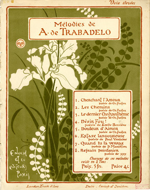 George Auriol, 1863-1938 Refrain PrintanierMélodies de A. de TrabadeloMusic: A. De Trabadelo 1898 Illustrated Sheet Music Found 40 cover(s) illustrated by Georges Auriol [Jean-Georges Huyot] (Beauvais, 1863 - 1938) http://www.imagesmusicales.be/search/illustrator/Georges-Auriol/3889/ShowImages/8/Submit/page-3/