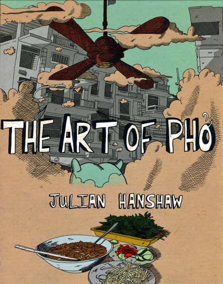 The Art of Pho is a graphic novel by the 2008 winner of the Observer/ Jonathan Cape Graphic Short Story prize: Julian Hanshaw. This year was the first year I didn't enter the competition after three failed attempts, partly due to time but also because this book made me feel like I'd never stand a chance in a million years! It's a strange tale about a sort of pig-like ceature called Little Blue, who finds himself stranded in Ho Chi Minh City and sets up a small business selling Pho (recipe included) in the streets. He befriends a group of gap-year travellers, being particularly drawn to the kind-hearted yet unattainable Sandy. Whilst fending for himself and dealing with the pains of innocence and naivety and unrequited love, Little Blue is on a personal journey to discover his original identity.  What really made The Art of Pho a good read was the art- it's as much a work of graphic design as it is illustration and storytelling. Every page is beautifully and thoughtfully designed and I found myself just staring at this book in wonder, with a sickening feeling that I still have a long way to go in my own comic work!