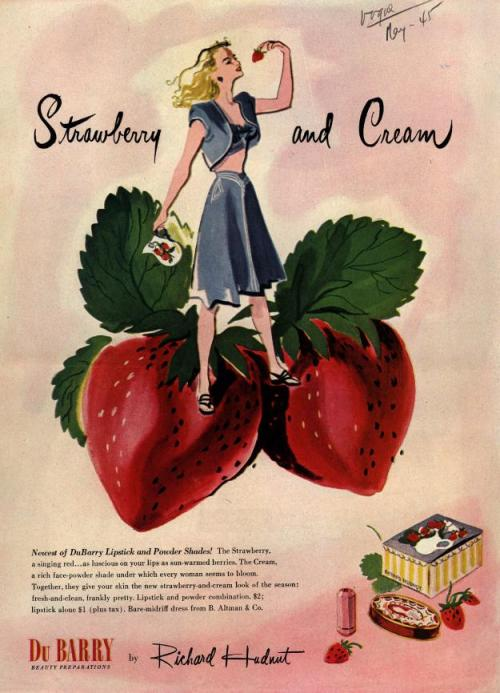 ladylikeladyads:  Strawberry and Cream 1945