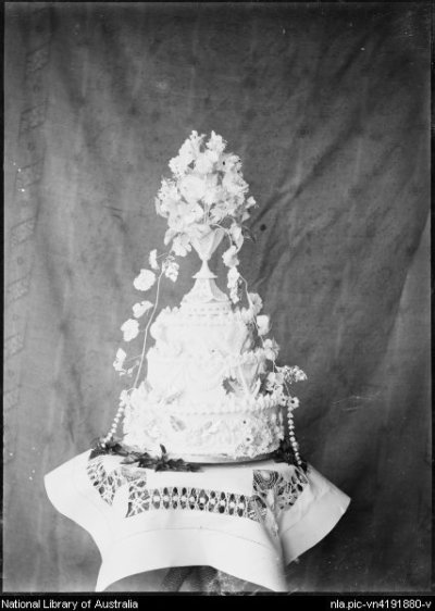 Wedding Cake probably decorated by Clara Pullar plain background, Clermont, Queensland ca. 1915 - Pullar, G. C. (Gordon Cumming), 1864-1934.