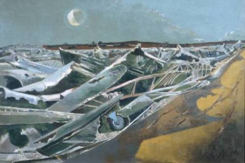 Paul Nash (1889-1946)  Totes Meer (Dead Sea)  Painted between 1940 and 1941. In the Tate Collection. Nash, renowned landscape artist, surrealist and artist of both the First and Second World Wars,was inspired by the sight of dumped planes in Oxfordshire and said afterwards:  'The thing looked to me suddenly, like a great inundating sea … the breakers rearing up and crashing on the plain. And then, no: nothing moves, it is not water or even ice, it is something static and dead.'