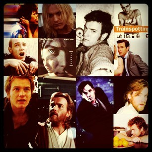 this is EWAN MCGREGOR  one of my favorite actors of all time. he's been in films like. the begginers, Eye of the Beholder, Angels and Demons,  I love you Phillip Morris, the Island, Big Fish, Down with LOve, Black Hack Down, Moulin Rouge!, Velvet Goldmine, A life LEss Ordinary, Trainspotting, Shallow Grave and of course as young Obi-wan Kenobi in the Star Wars Prequels The Phanton Menace, Attack of the CLones and Revenge of the Sith.