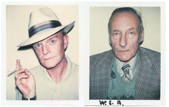Polaroids of Truman Capote and William Burroughs by Andy Warhol.