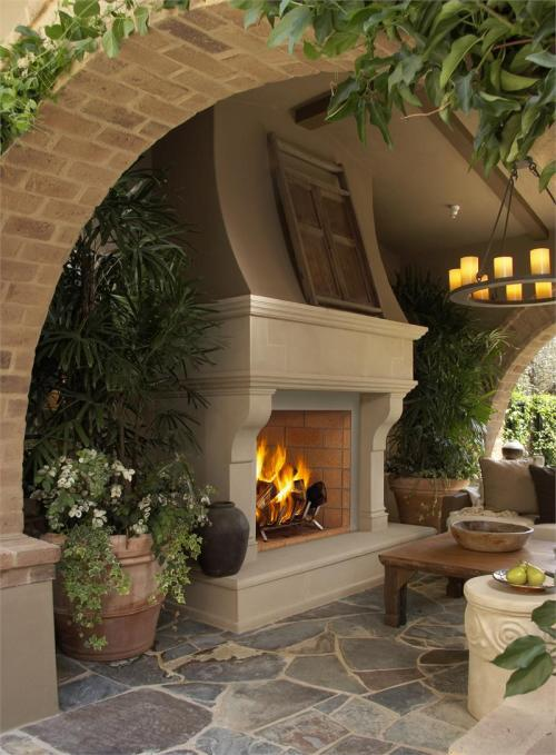 Wonderful outdoor wood-burning masonry and brick fireplace. So relaxing, this would be a great focal point to outdoor parties, as well as nice for more intimate relaxation (via VJM42 Oracle Wood Burning Mosaic Masonry Outdoor Fireplace Vantage Hearth VJM42)
