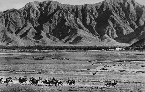 Horseback riders in the valley of the River Kabul, Afghanistan, 1934