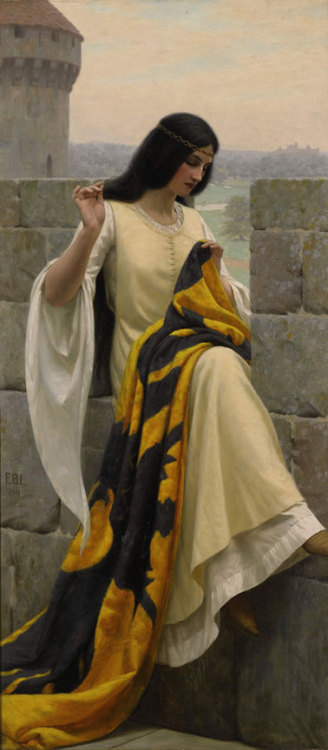Stitching the Standard by Edmund Blair Leighton   Nice stranger: Hello, milady, what are you doing? Me: O hai! I'm stitching my husband's coat of arms~ NS: Your husband, milady? Me: *proud* Lord Sandor Clegane! Sandor: I'm no Lord… (And, by the way, bugger this/bugger that/bugger you!) Me: Hush NC: But, milady, this thing you are stitching… How is that a d… Me: HUSH NOW!!!