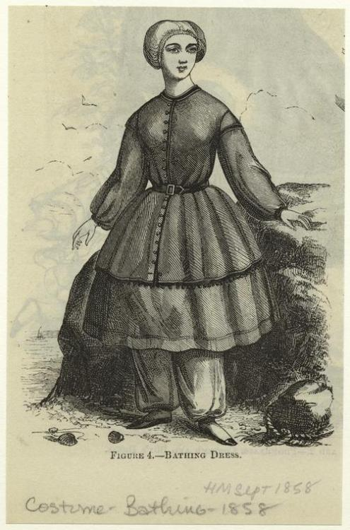 Bathing suit, 1858 US, Harper's Magazine