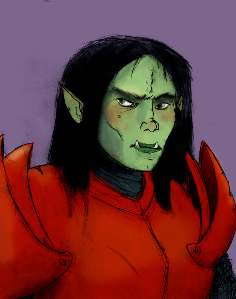 Still drawing my Pathfinder characters.  Makira, the half-orc Paladin again.  She is becoming my favorite.