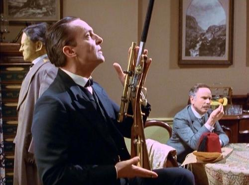 A remarkable and unique weapon. (Holmes with Moran's rifle in Granada's The Empty House.)