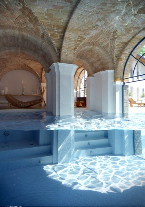 Fantastic split underwater/surface shot of a wonderful indoor to outdoor pool. That brick ceiling is gorgeous, also. (via A nice swimming pool - Imgur)