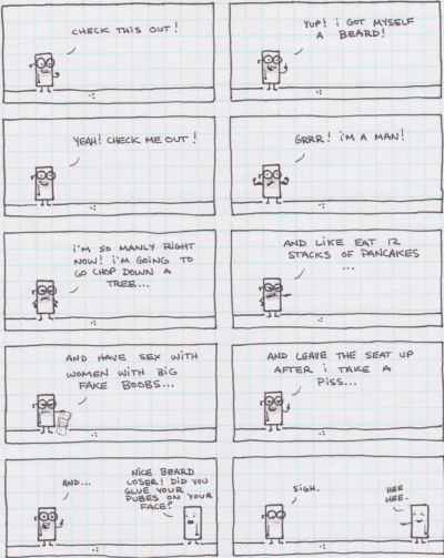 an old comic i made. not a robot one. but it's on graph paper!