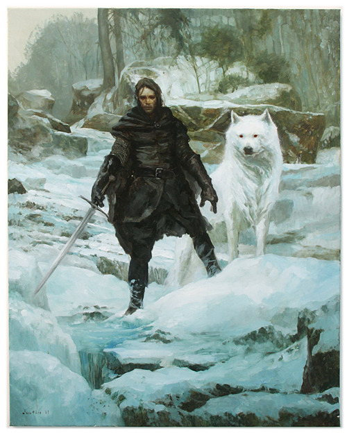 vicaade:  Jon Snow and Ghost. Art by: Justin Sweet
