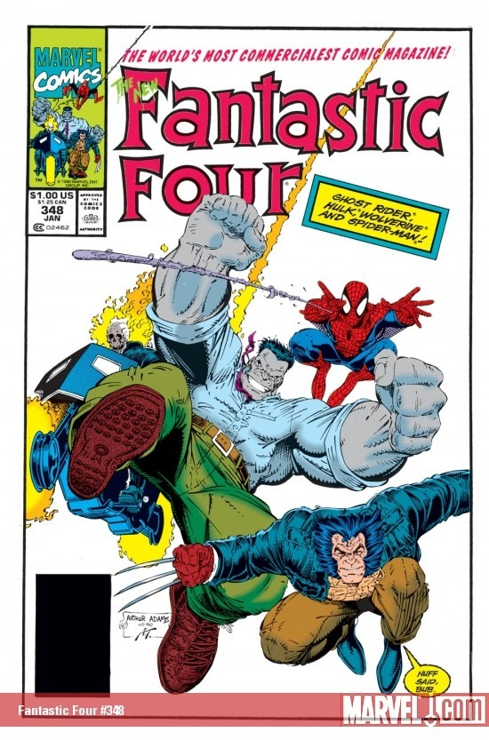Art Adams theme: this is the cover to Fantastic Four #348, 'The World's Most Commercialest Comic Magazine'.
