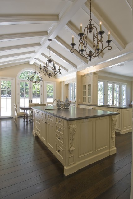 Such a bright and pretty traditional kitchen with a cathedral ceiling (via kitchen - san francisco - by Canyon Construction)