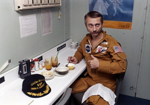 shuttleisland:  Skylab 3 astronaut Dr. Owen Garriott gets a chance to eat aboard the U.S.S. New Orleans on September 26, 1973. The Skylab 3 crew had just splashed down after 59 days in orbit. Retro Space Images