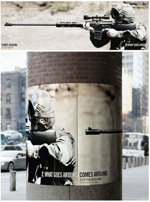 A anti war poster with such a powerful message: What goes around comes around