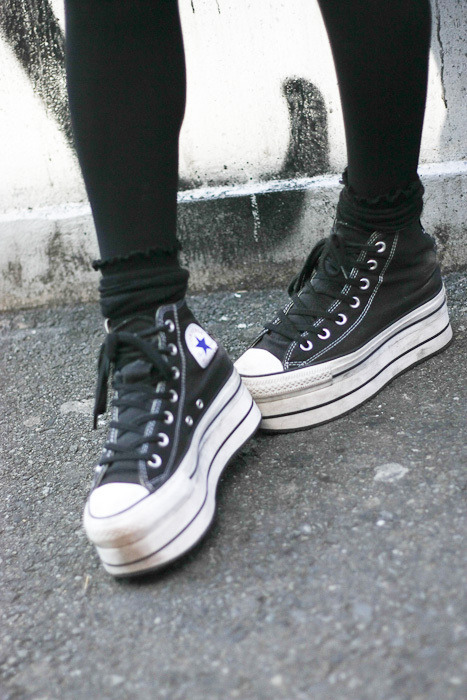I love platform converse. So. Much. Now I just have to somehow come up with the forty bucks to buy them. I like the white high top ones the best.