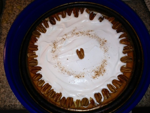 I found a recipe for Cheesecake Factory's Pumpkin Cheesecake and let me tell you…it was incredible! I topped it with whipped cream, adorned the sides with pecans and sprinkled a dash of nutmeg on top! The pumpkin and spices were delicious and perfect for this Fall weather :)  http://www.recipesecrets.net/forums/secret-recipe-archive/12816-cheesecake-factory-recipes.html