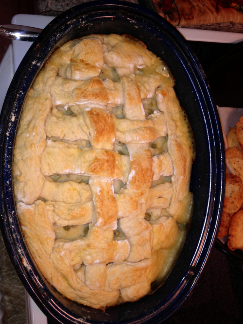 I made an amazing chicken pot pie casserole…completely from scratch! Even the pastry puff crust! It was so delish :)  The recipe was from Paula Deen…you know that means yummy butter goodness! Or greatness for that matter!    ~~ http://copycat-recipes.8m.com/copycat_restaurant_recipe_Paula_Deen's_Lady_and_Sons_Chicken_Pot_Pie.html  For the puff pastry I used this recipe ~~ http://allrecipes.com/recipe/puff-pastry-2/detail.aspx#