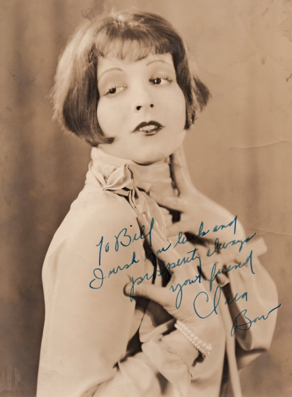 "clarabowarchive:  Dancing Mothers (1926) original photograph autographed by Clara Bow. Signed ""To Bill I wish you luck and prosperity always your friend Clara Bow"" Stamped on reverse: Photograph used for Publication Please Credit WILLIAM POTTER"