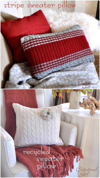 DIY Thrift Store Pillows. Ok, lots and lots of thrift store pillow tutorials - because this look has been so in style for several years, but the tutorial at Centsational Girl here, shows how simple and easy it is. Also love the red and grey sweater she chose.