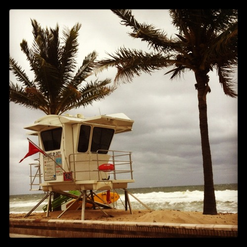 Rough seas mean the red flag warning at all life guard stations. Rip tides are dangerous and sometimes deadly.