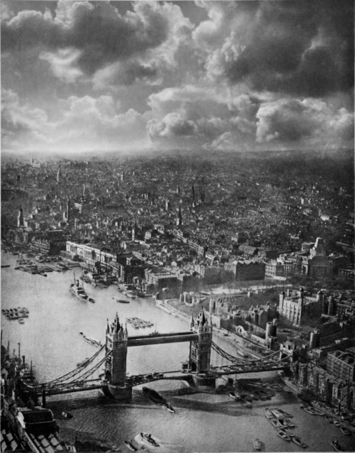Tower Bridge, aerial view, London, 1935