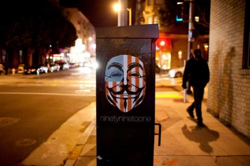 Eddie Colla's anonymous image has become quite popular in the Occupy movement.