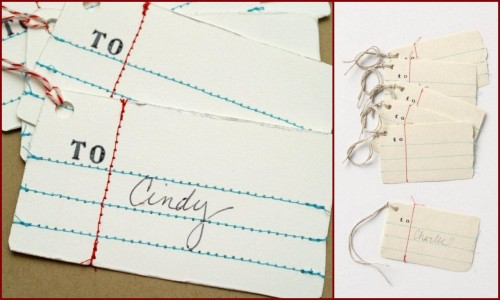 DIY Anthropologie Inspired Penmanship Gift Tags (Anthro version $16 on right here). I posted something similar by an Etsy Artist using white felt. Love these tags - so so simple to make. Tutorial with a PDF template to make it really easy from Flamingo Toes here.