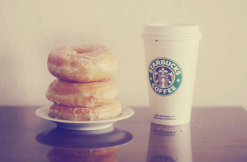 Starbucks coffee and donut. What else?