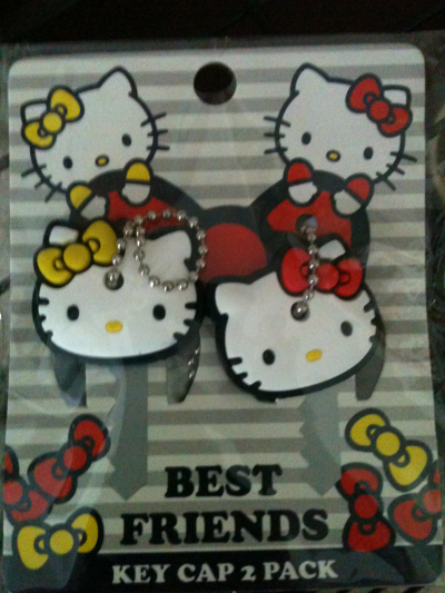 hellokittydaily:  Yay! Hello Kitty key caps came in the mail!!