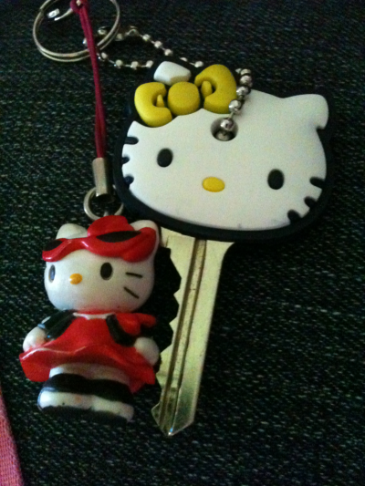 hellokittydaily:  Mimi Key Cap with Kitty key ring.