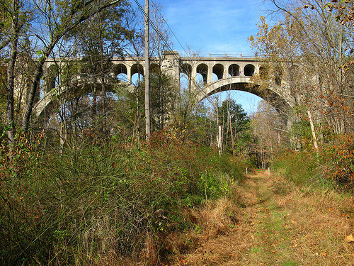 Paulinskill Viaduct, Hainesburg NJ (by jeffs4653) Paulinskill Viaduct on the Lackawanna Cutoff of the Delaware Lackawanna  & Western Railroad. At one time the longest concrete railroad bridge  in the world, until surpassed by the Lackawanna on Tunkhannock Viaduct  in Nicholson PA. Abandoned since the 1980s. At ground level, the New  York Susquehanna & Western and Lehigh and New England Railroads  passed underneath (I'm standing on the abandoned NYS&W ROW).  Hainesburg Station was just on the other side of the bridge. To the  south (behind camera) about a 1/2 mile was Hainesburg Junction. See my  Swartswood Junction set.