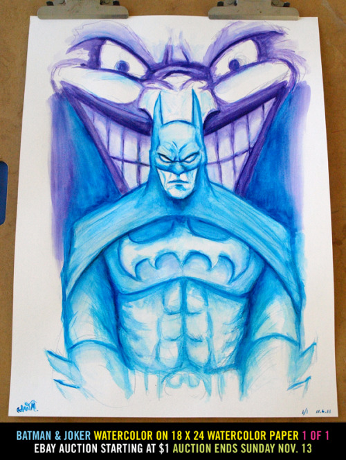 Batman and Joker watercolor on 18x24 watercolor paper 1 of 1 signed. eBay Auction: http://r.ebay.com/OjIyGm Auction ends Sunday Nov. 13 More pictures of the painting: http://www.flickr.com/photos/doomcmyk/