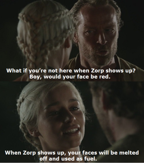 stormofswansons:  Leslie: What if you're not here when Zorp shows up? Boy, would your face be red. Herb: When Zorp shows up, your faces will be melted off and used as fuel. End of the World - Episode 4.6