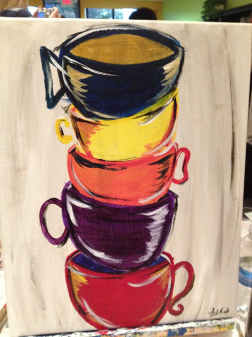 We made it to the paint bar! Even with an apron, I managed to get paint on my pants. I'm pretty happy with the results though.