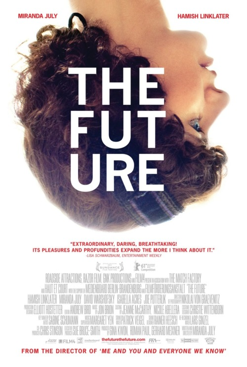 Miranda July - The Future  The Future seems to have a somewhat pessimistic view of life. Is that a fair assessment? July: I don't think it's pessimistic. I mean, there's one part of the movie I can think of that's a little doomful, but I don't think the movie as a whole is. It's sad, but I feel like it's the kind of sad that has openness to it. It's not like everything's awful and a drag. I certainly don't feel that everything's awful. I'm a pretty optimistic person. That said, I take things pretty seriously. Everything always feels very high stakes to me and kind of dramatic so it's easy in a movie like this that shows so much inner world, for it to reflect that.  [source] G