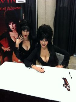 ladys3:  What I did yesterday. Went to the first ever Comikaze in L.A. and dressed as Elvira for her farewell appearance. I had met her on two other occasions, but it was still great to see her again and she seemed really excited about my costume. The cool thing was, while scoping out the line, the security guard just walked me up to her for the picture! It was a mission accomplished!