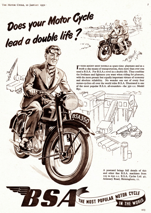 (via Vintage Scans: BSA Motorcycles) From The Motorcycle, January 1952.