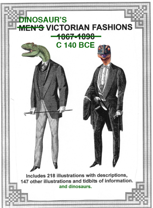 A fashion poster for very dapper dinosaurs. Featured on this article's cover is the lovely Allosaurus (on the left), and the Saurornithoides. Two very elegant dinosaurs.