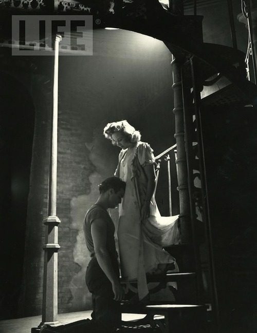 theniftyfifties:  Marlon Brando and Kim Hunter in 'A Streetcar Named Desire', 1951.