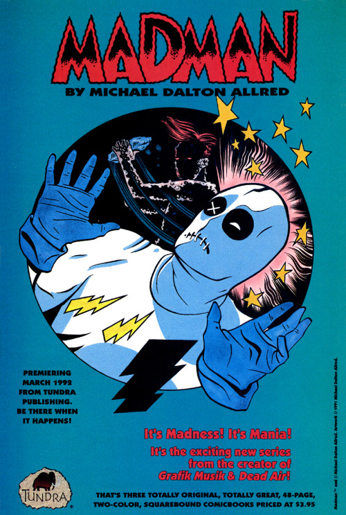 Promotional ad for Madman by Michael Allred, 1991.
