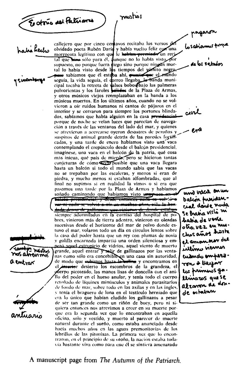 Gabriel García Márquez manuscript for El otoño del patriarca (The Autumn of the Patriarch), 1975