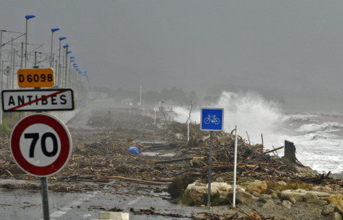 DEVASTATION A section of coastline outside Antibes is covered in debris after a weekend of torrential rain. At least seven people have been killed as storms have lashed northern Italy and southern France.   (Photograph bu Reuters.)