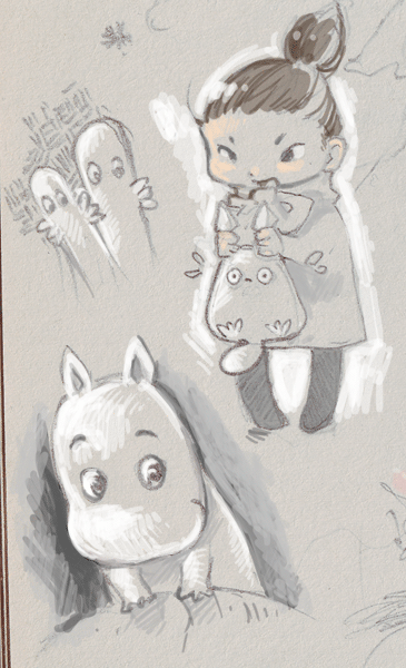 warming up/testing out brush-settings on old mumin (+totoro) sketches.
