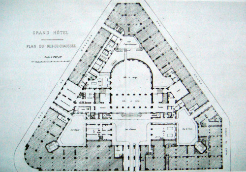 archimaps:  Groundfloor plan of the Grand Hotel in 1862, Paris